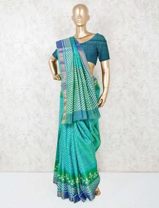 Green cotton silk sari for festive