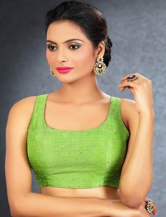 Green designer rawsilk readymade blouse