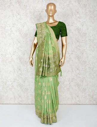 Green designer saree in silk