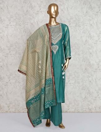 Green double layer salwar kameez in cotton silk