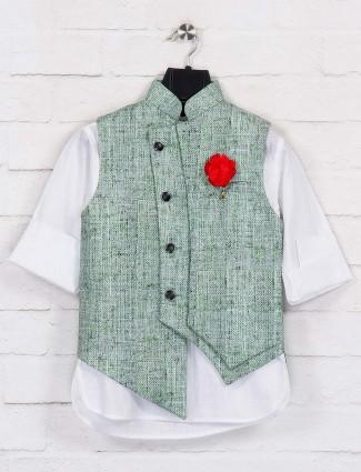 Green festive waistcoat set in jute