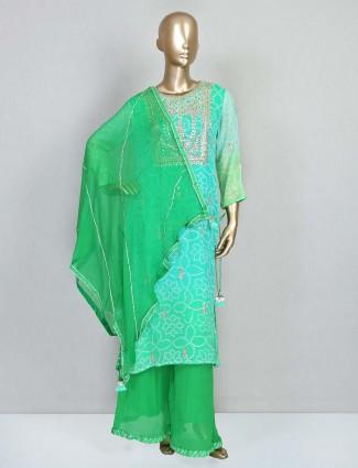 Green festive wear palazzo salwar kameez