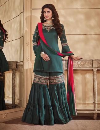 Green festive wear punjabi sharara suit