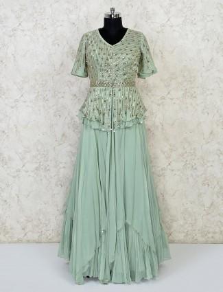Green Georgette festive wear lehenga