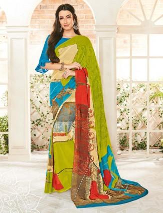 Green georgette printed design saree