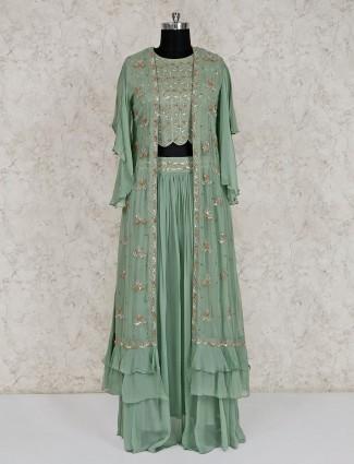 Green georgette wedding designer lehenga suit