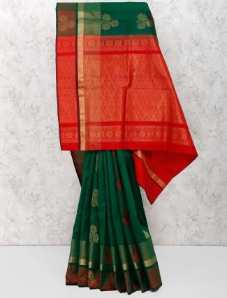 Green hue color gorgeous saree in semi silk