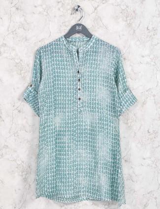Green hue cotton casual top