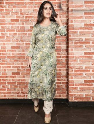 Green hue cotton round neck kurti set
