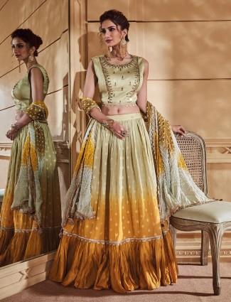 Green hue cotton silk fabric festive lehenga choli
