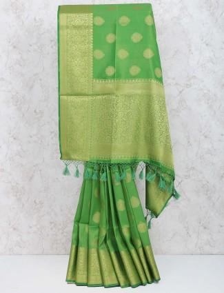 Green hue cotton silk fabric festive sari