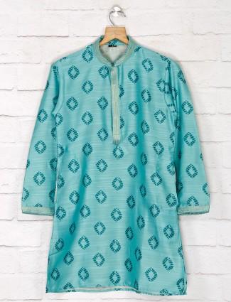 Green hue cotton silk kurta suit for festive