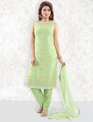 Green hue festive punjabi salwar suit in cotton