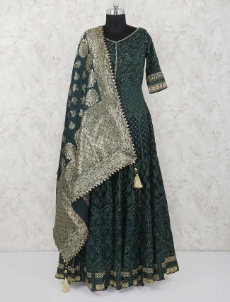 Green hue floor length anarkali salwar suit in georgette