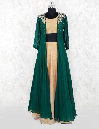Green hue georgette fabric jacket style lehenga cum suit