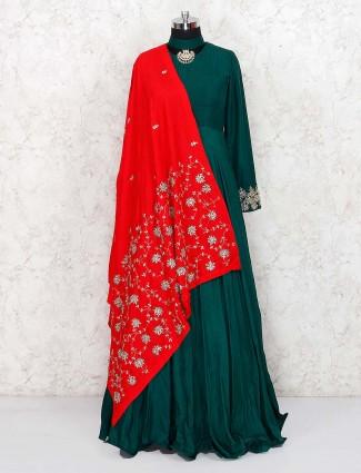 Green hue gorgeous raw silk floor length anarkali salwar suit