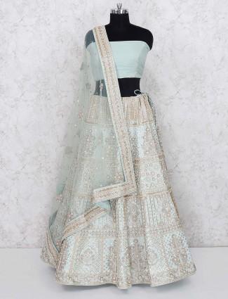 Green hue gorgeous silk bridal semi stitched lehenga choli