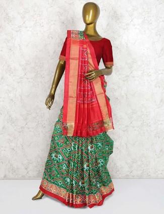 Green hue lovely saree in hydrabadi patola silk