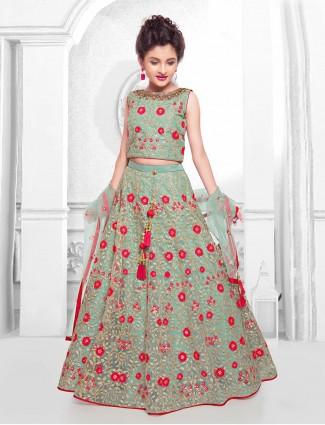 Green hue net wedding lehenga choli