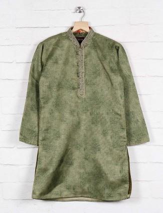 Green hue party wear cotton kurta suit