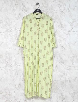 Green hue printed cotton kurti set
