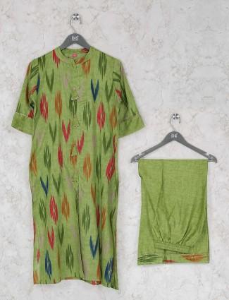 Green hue printed festive kurti set