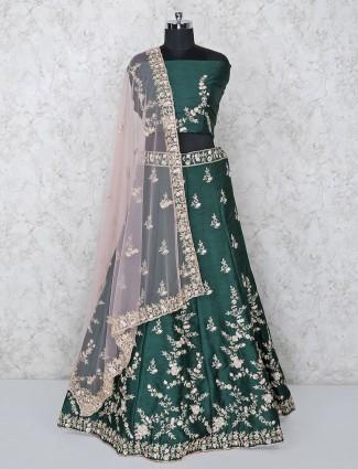 Green hue raw silk bridal semi stitched lehenga choli