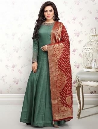 Green hue raw silk fabric festive anarkali salwar suit