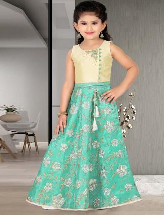 Green hue raw silk fabric festive  floor length gown