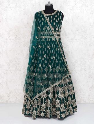 Green hue raw silk fabric party floor length anarkali salwar suit