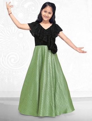 Green hue silk fabric floor length gown