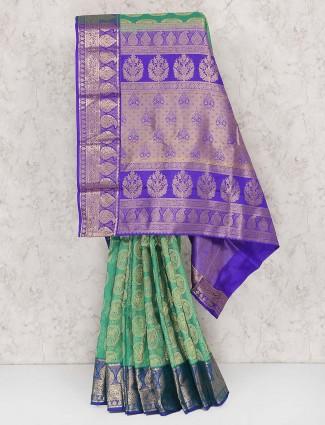 Green hue wedding banarasi silk saree