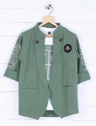 Green hued cotton fabric blazer