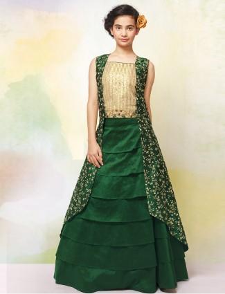 Green hued jecket style lehenga choli for cute girls