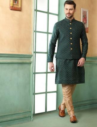 Green hued party wear terry rayon waistcoat set