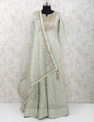 Green hued wedding wear cotton silk anarkali suit