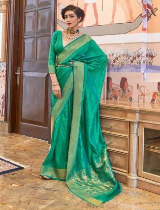 Green kanjeevaram silk wedding wear saree