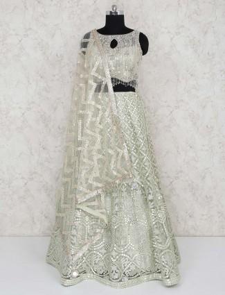 Green net wedding wear designer lehenga choli