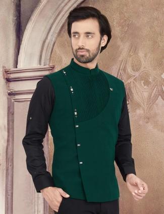 Green plain classy cotton waistcoat