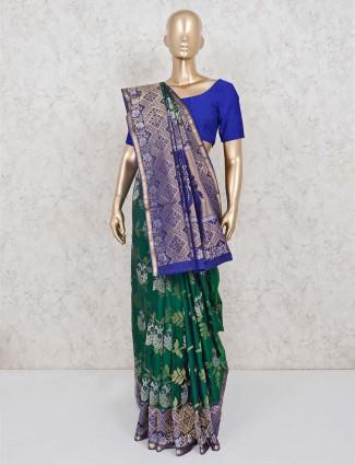 Green pretty banarasi pure silk saree