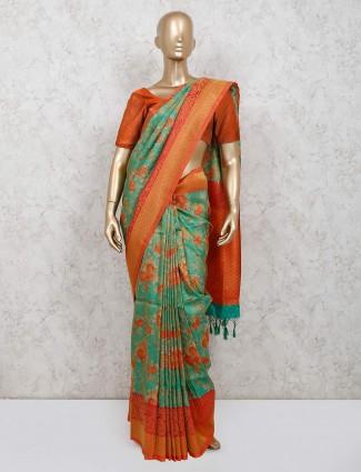 Green printed banarasi silk festive session saree