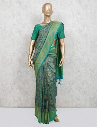 Green printed banarasi silk for festive