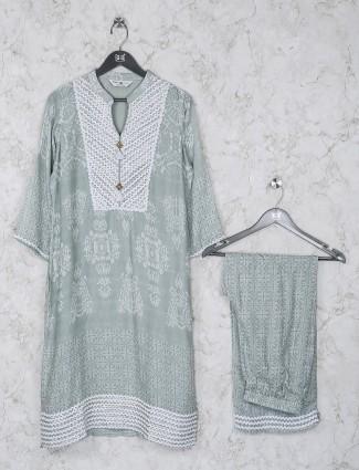 Green printed cotton fabric casual kurti set