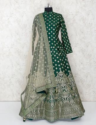 Green printed floor length anarkali suit in cotton silk