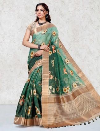 Green printed mulberry silk saree