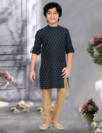 Green printed pattern cotton full sleeves kurta suit