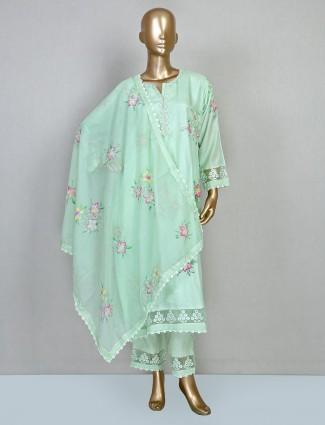 Green printed punjabi suit for women