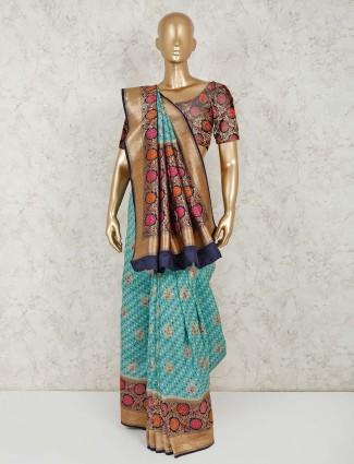 Green printed with thread zari weaved semi silk saree