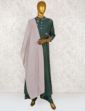 Green punjabi palazzo suit in cotton fabric