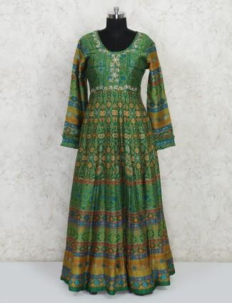 Green raw silk designer anarkali salwar kameez